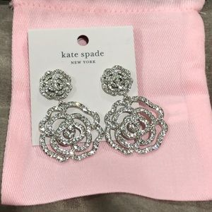Kate Spade crystal rose earrings. NWT